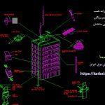 نقشه نصب برقگیر الکترونیکی ساختمان - کاربلدها - LIGHTNING SYSTEM LAYOUT